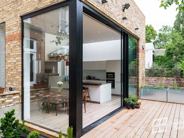 Hi-finity sliding doors, corner configuration, Canfield Gardens Project, NW6