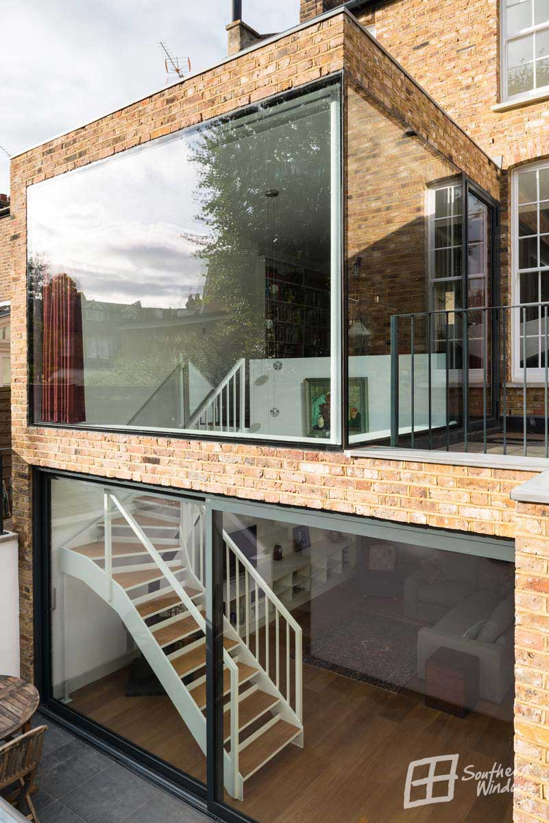 Battersea, oversized architectural glazing and sliding door