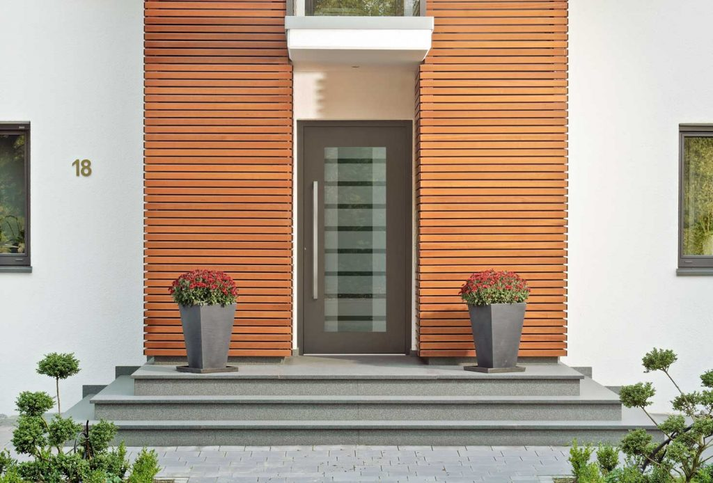 Consis Schuco entry door with Adeco panels