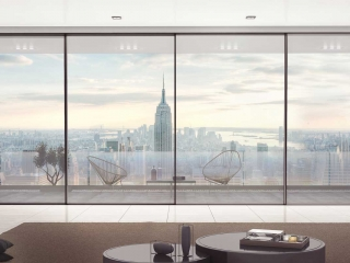 Supreme S650 Sliding doors by Alumil with New York skyline