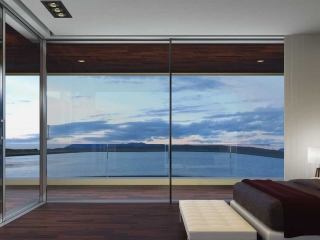 Bedroom with Supreme S650 corner aluminium sliding doors