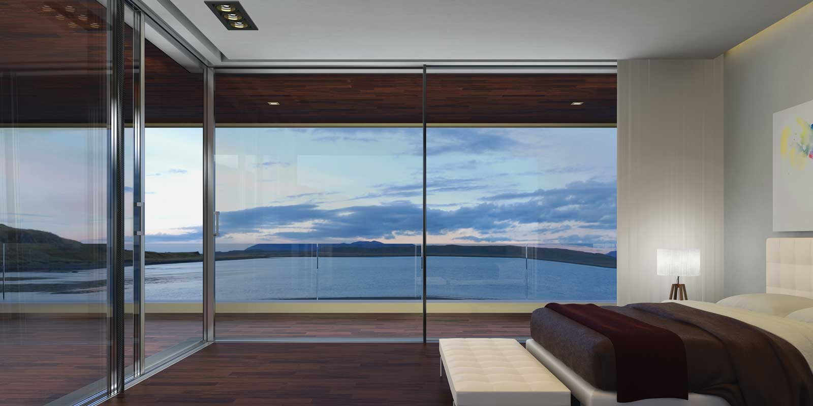 Bedroom with Supreme S650 corner aluminium sliding doors