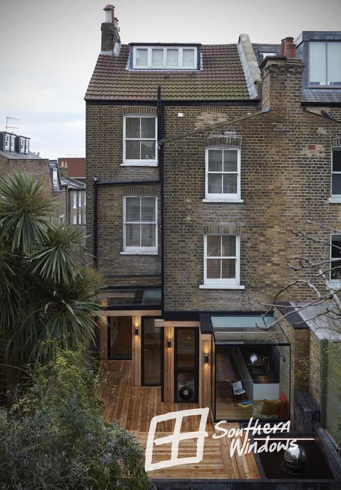 Bespoke aluminium glass box extension in a period property in North London