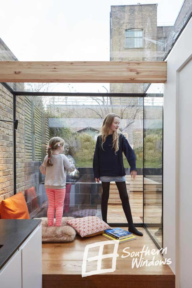 Bespoke aluminium glass box extension, North London