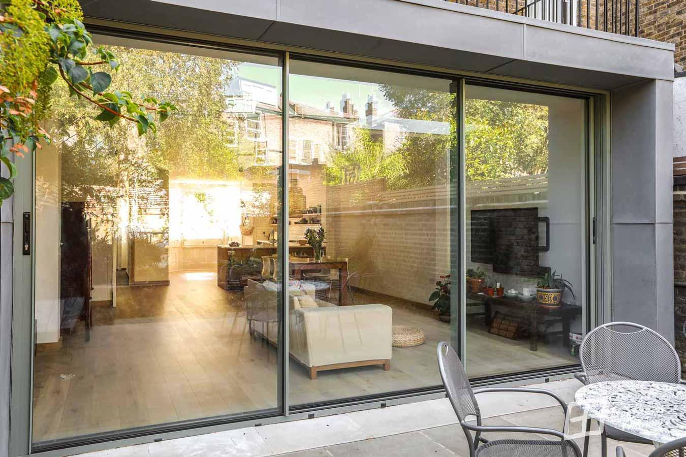 House extension with CorVision Aluminium Slim Sliding Doors installed