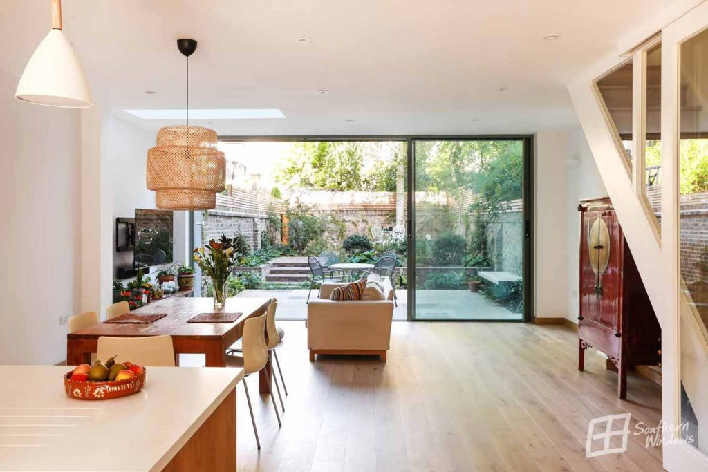 kitchen - living room extension with large slim sliding doors