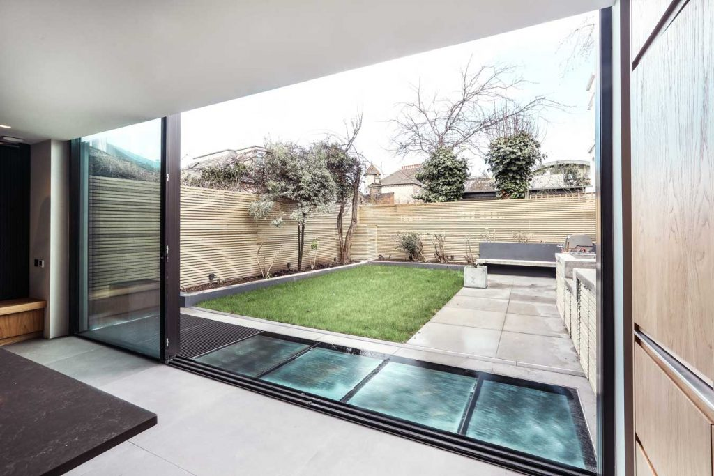 Slim sliding doors and walk-on-glass, Wandsworth project